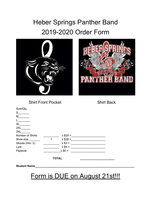 Heber Springs Band T-Shirt Order Forms