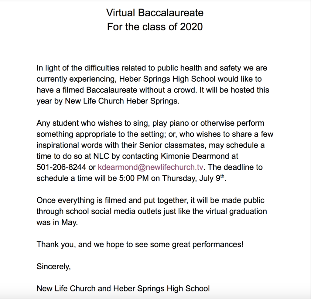Baccalaureate Announcement